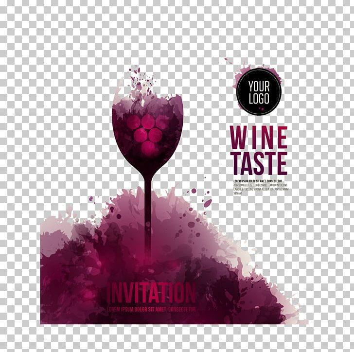 Wine Tasting Wedding Invitation Wine Glass Flyer PNG.