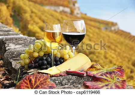 Stock Image of Two wineglasses, cheese and grapes on the terrace.