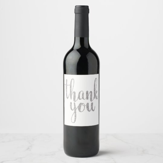 Silver thank you wine labels, glitter wine label.