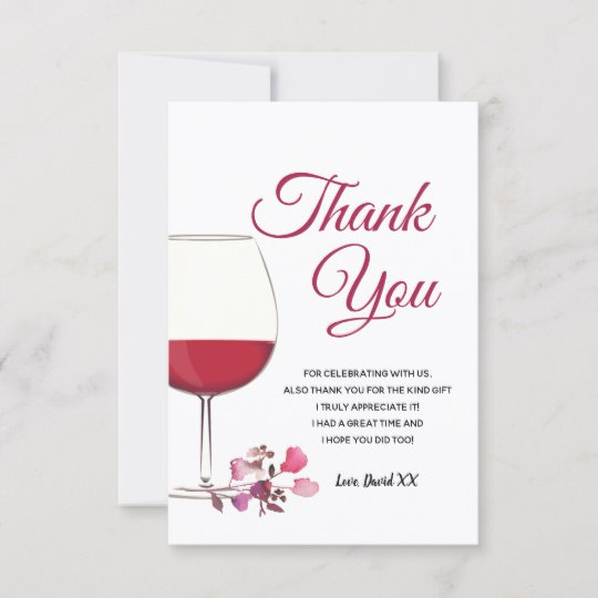 wine, adult, thank you card.