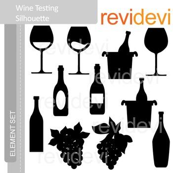 Clipart Wine Tasting Silhouette E030.