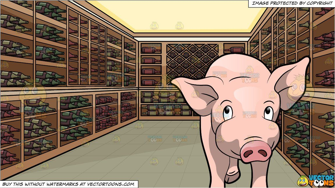 clipart #cartoon A Cute Pig Charming Its Way and A Wine.