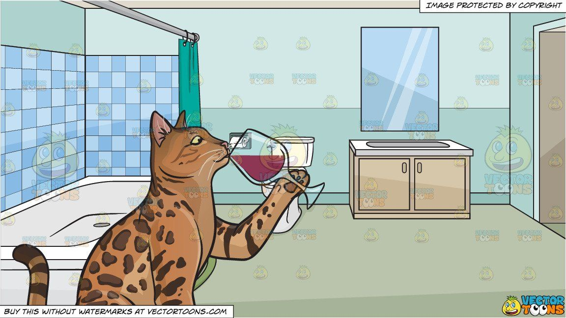 A cat drinking wine and A House Bathroom Background in 2019.