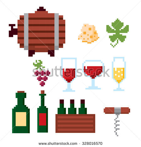 Wine Growing Production And Consumption Pixel Icons Set. Pixel Art.