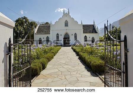 Stock Image of Garden in front of church, Franshoek, Cape.