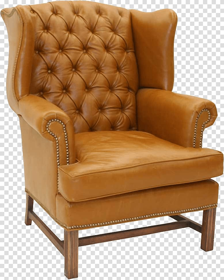 Tufted brown leather wingback chair, Chair Furniture Table.