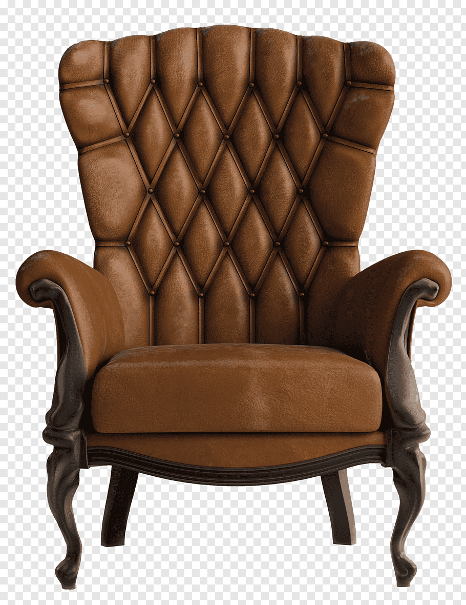 Quilted brown leather wingback chair, Armchair Vintage Brown.