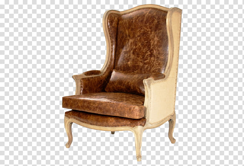 Furniture , brown leather wingback chair transparent.