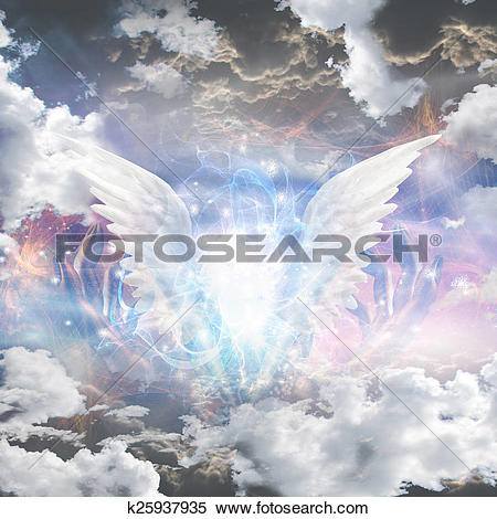Stock Illustration of Angel wings pull apart seam of mortals to.