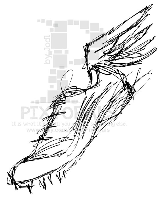 Track Winged Shoe! Sketchy, EPS file, Vector and jpeg, png.