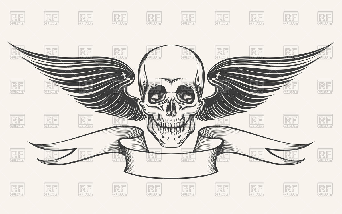 Skull with wings and ribbon Vector Image #98297.