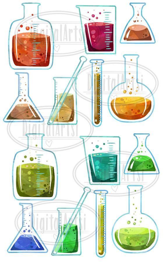 Watercolor Science Clipart.
