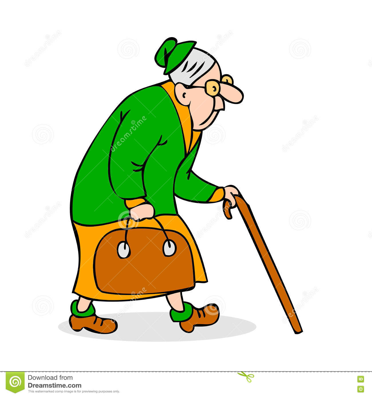 Old Woman Walking Clipart.