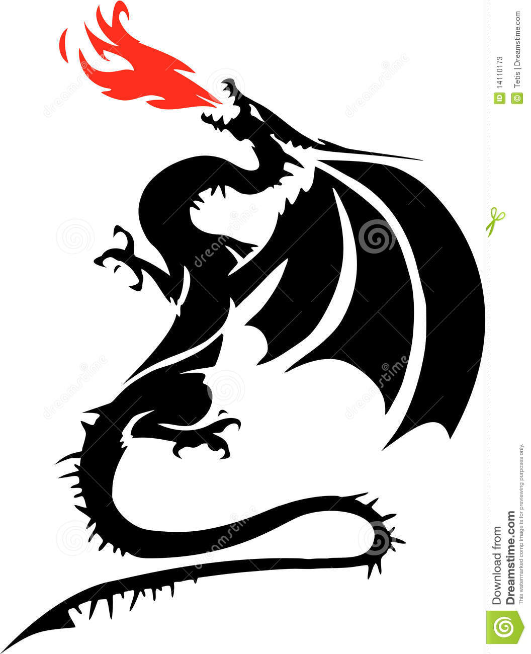 Black And White Drawing Of A Winged Dragon Breathing Red Flames.