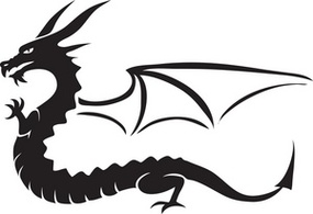 Silhouette Of A Winged Dragon Clipart.