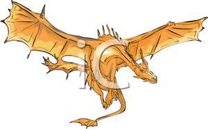 Winged Dragon In Flight.
