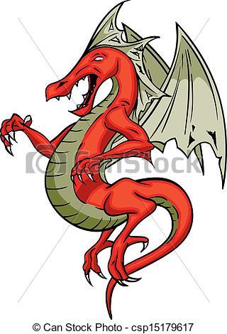 Vector Clip Art of Red Dragon.