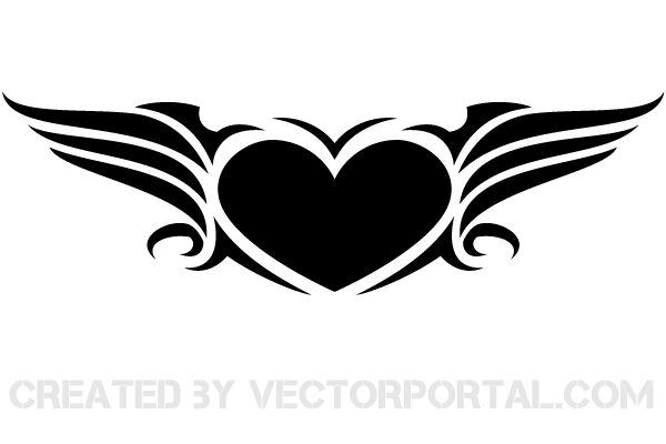 Vector Winged Heart Clip Art.