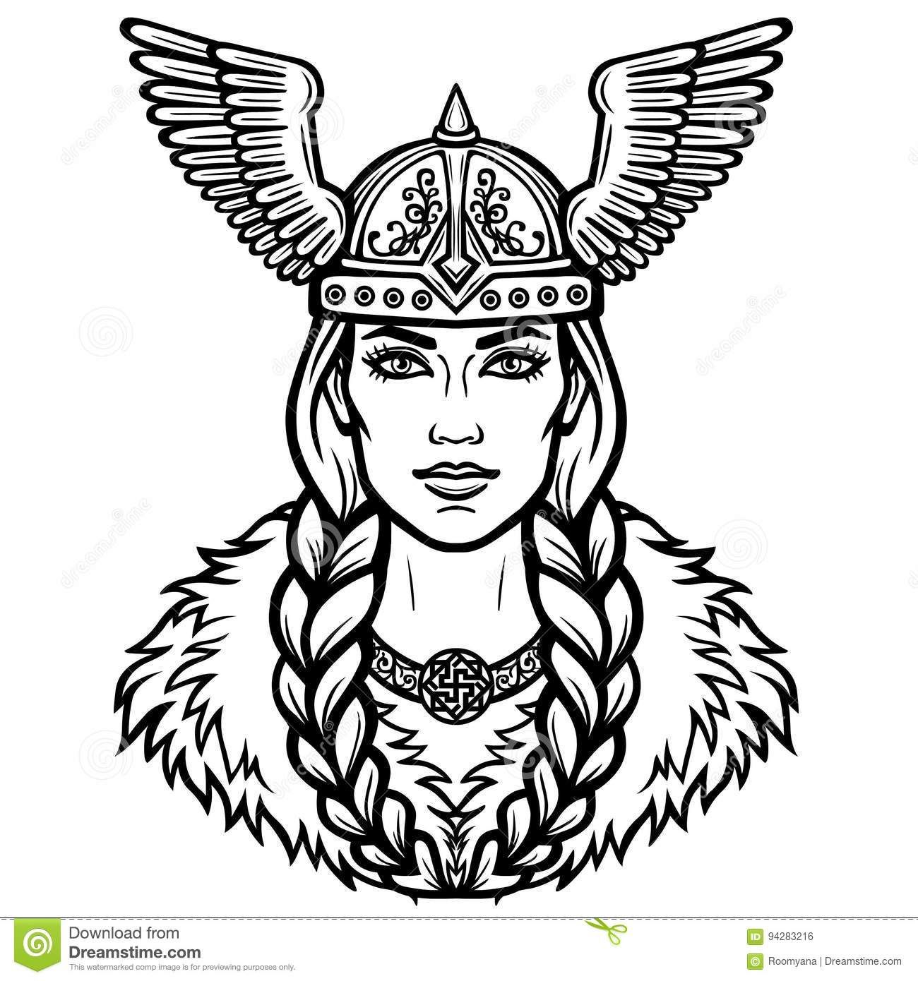 Portrait Of The Beautiful Young Woman Valkyrie In A Winged.
