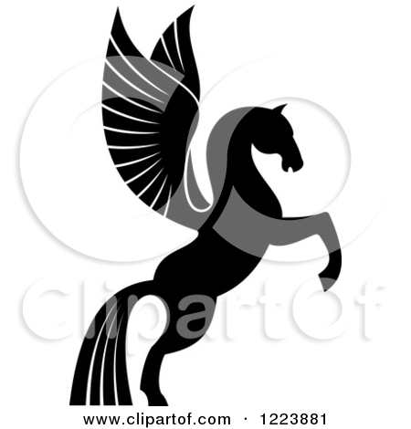 Clipart of a Black and White Silhouetted Rampant Winged Horse.