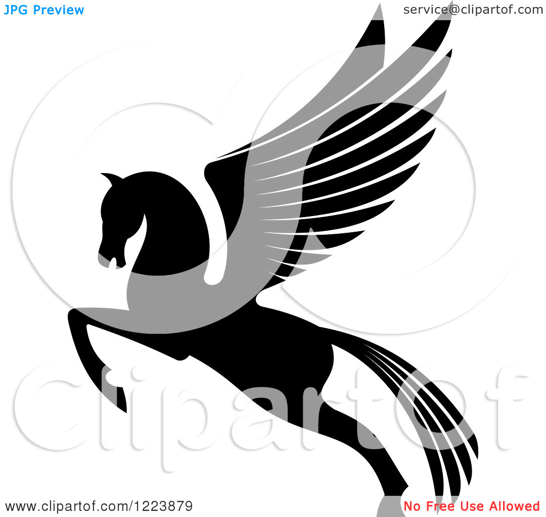 Clipart of a Black and White Winged Horse Pegasus Ready to Take.