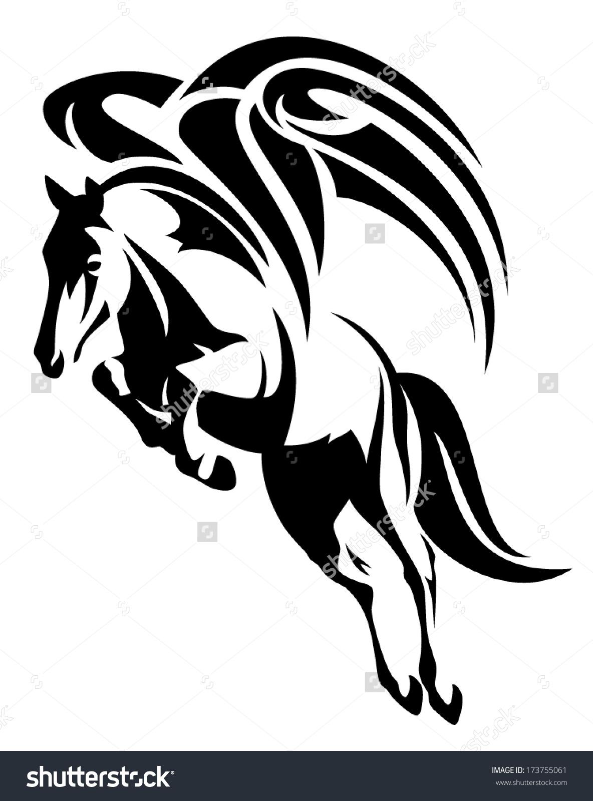 Winged Horse Design Black White Tribal Stock Vector 173755061.