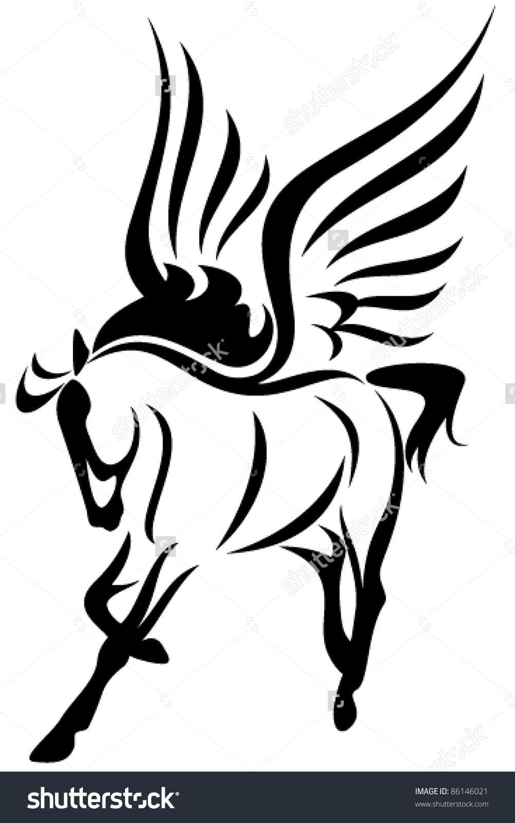 Pegasus Winged Horse Vector Illustration Symbol Stock Vector.