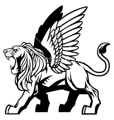 Winged lion vector.