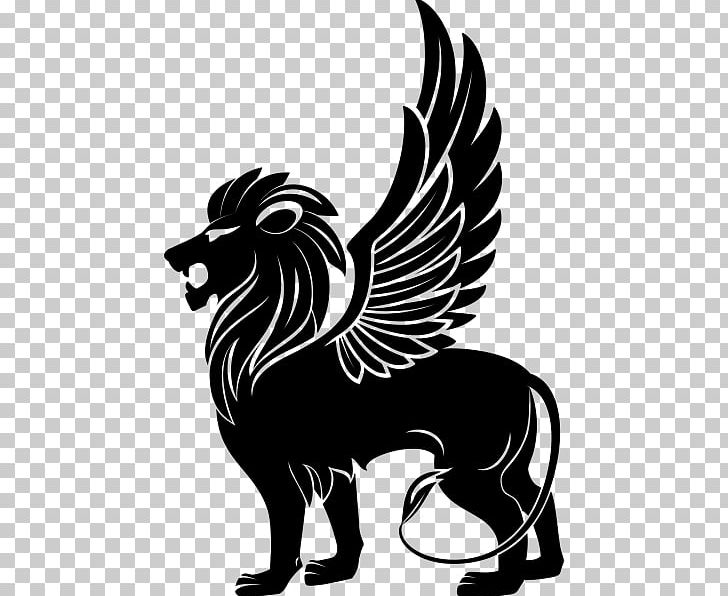 Winged Lion PNG, Clipart, Animals, Black And Wh, Carnivoran, Cat.