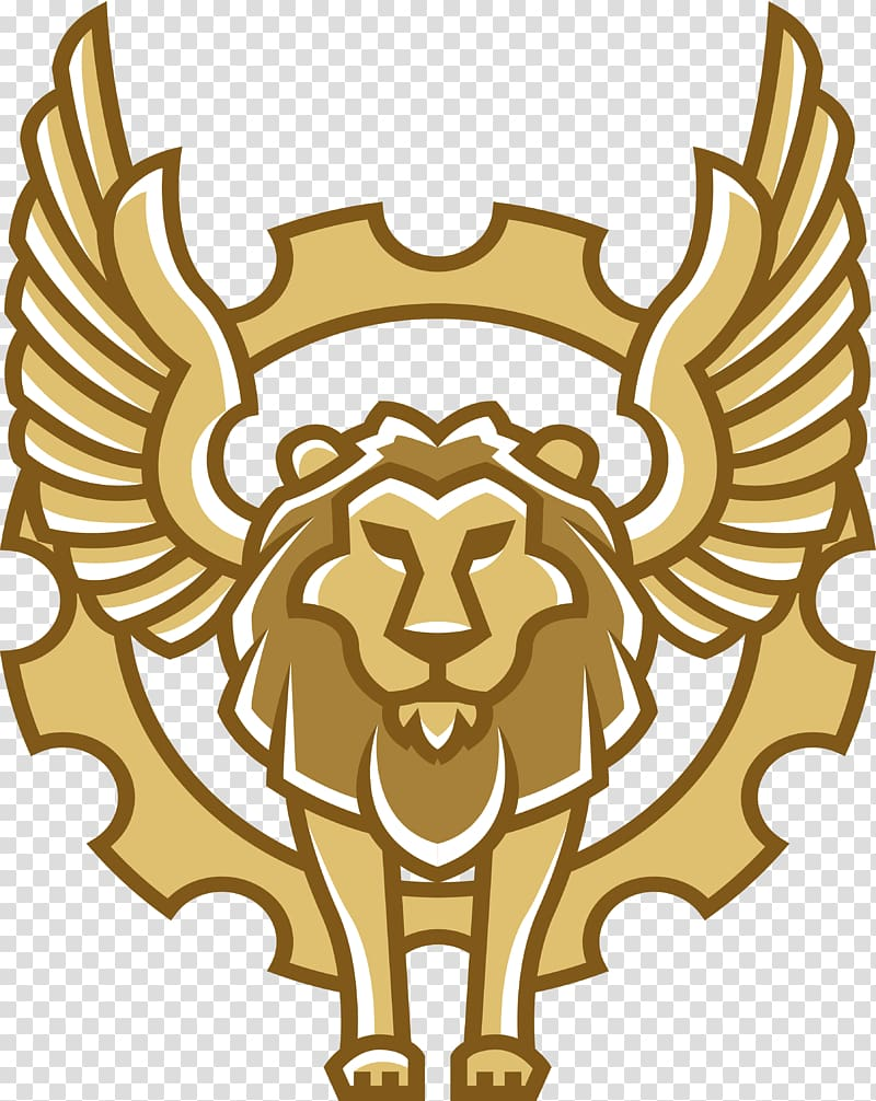 Winged lion, Flying lion transparent background PNG clipart.