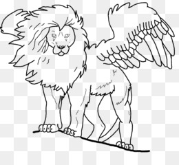 Free download Winged lion Line art Black and white Clip art.