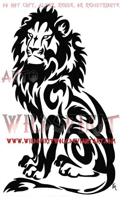 Seated Tribal Lion Tattoo by WildSpiritWolf.