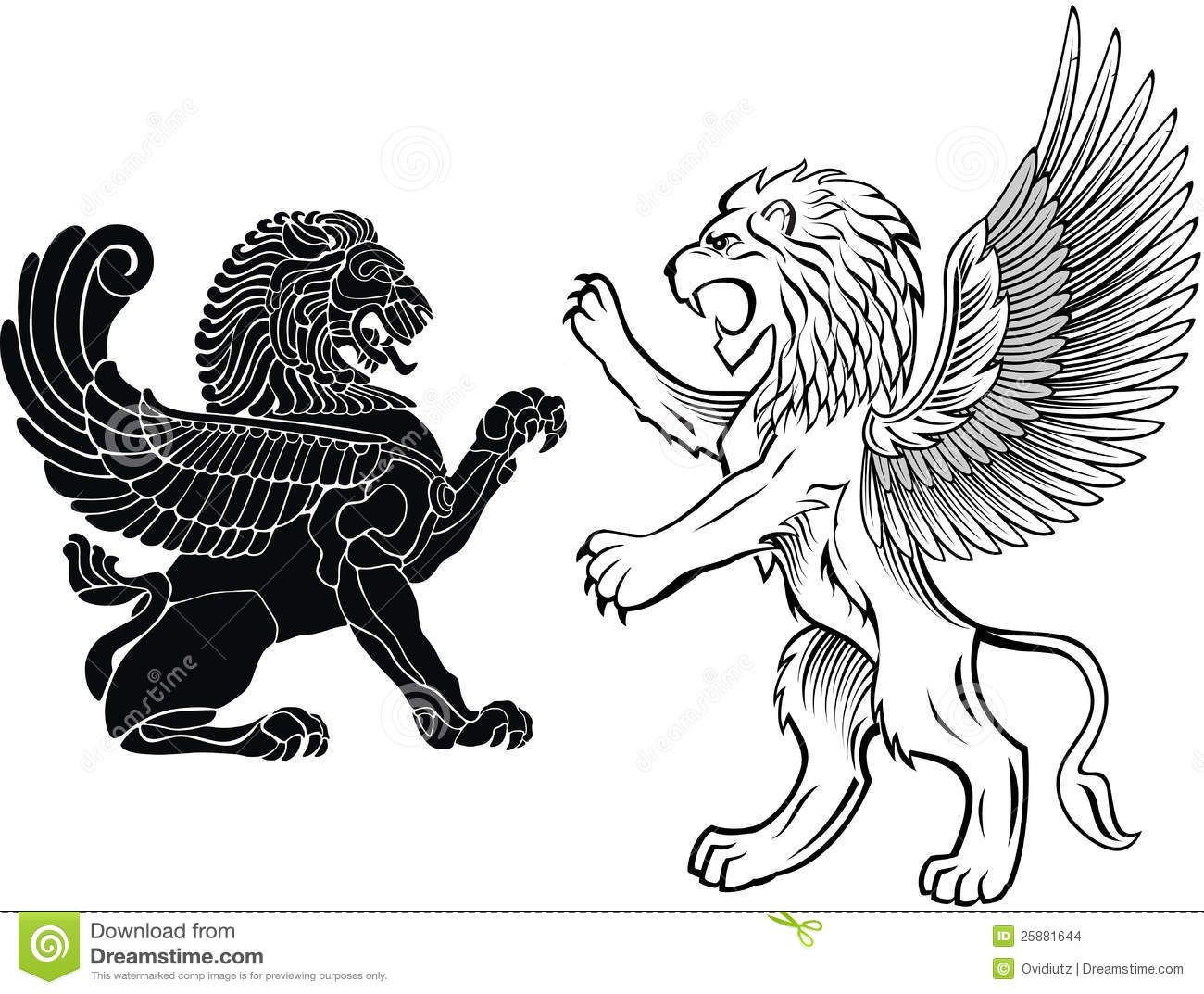 Standing And Winged Lion Stock Images.