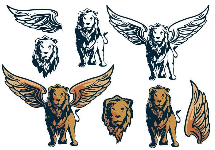 Winged Lion King Element Pack eps, svg file.