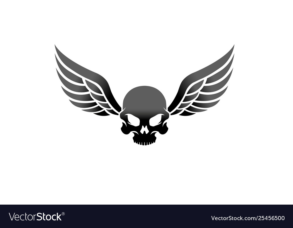 Creative winged skull vintage wing logo design.