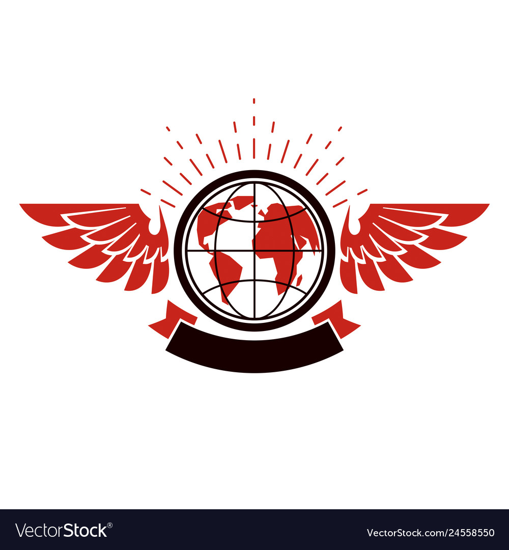Earth planet winged logo power of global.