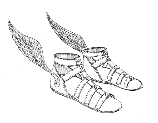 Winged sandals clipart.