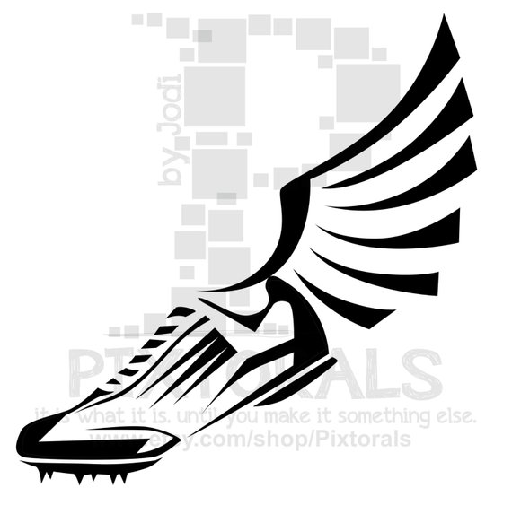 Track Winged Shoe Clipart! EPS file, svg, and jpeg, png, Running.