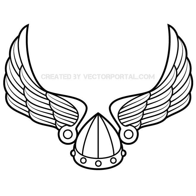 wings with viking helmet vector.