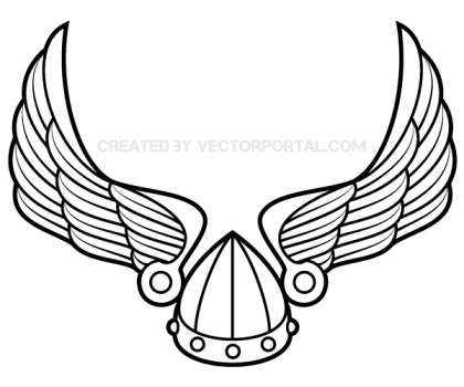 Winged Viking Helmet Vector Art.
