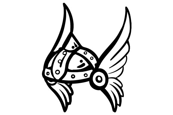 Cartoon Winged Viking Helmet.
