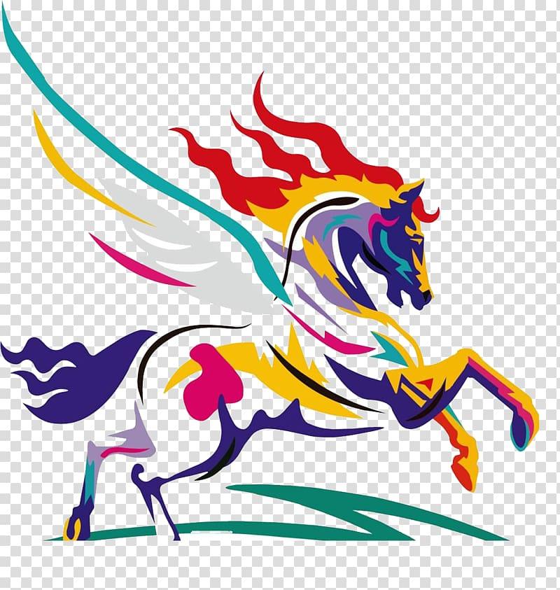 American Paint Horse Watercolor painting , Wings Pegasus.