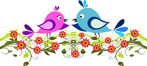 Image of two cute birds winging among flowers.