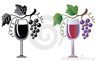 Wineglass And Grapevine Royalty Free Stock Photos.