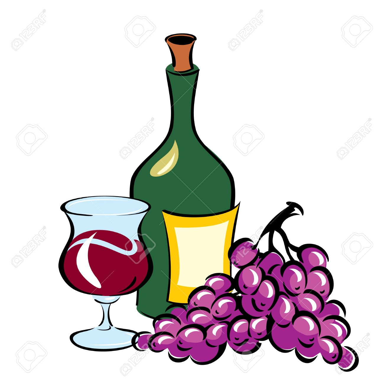 Vector Image Of Wine And Grapes Royalty Free Cliparts, Vectors.