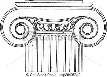 EPS Vector of Ionic capital of the Temple of Wingless Victory.