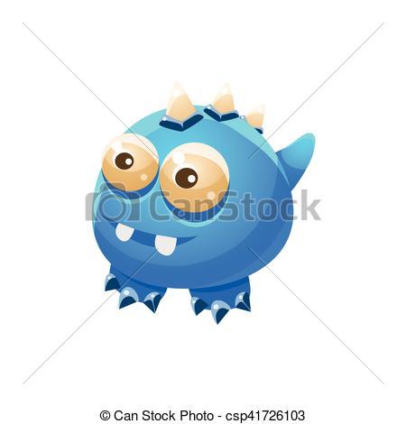 Vector Clipart of Blue Wingless Fantastic Friendly Pet Dragon.