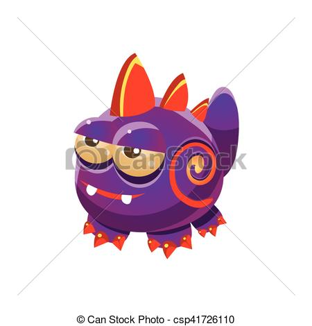 Vector Clip Art of Purple Fantastic Friendly Wingless Pet Dragon.