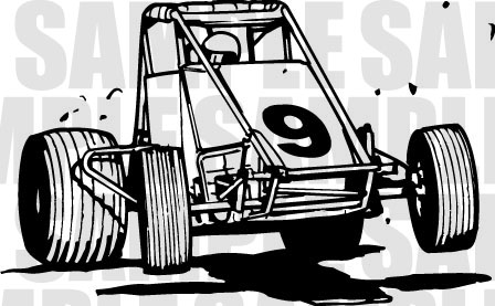 Wingless sprint car clipart.