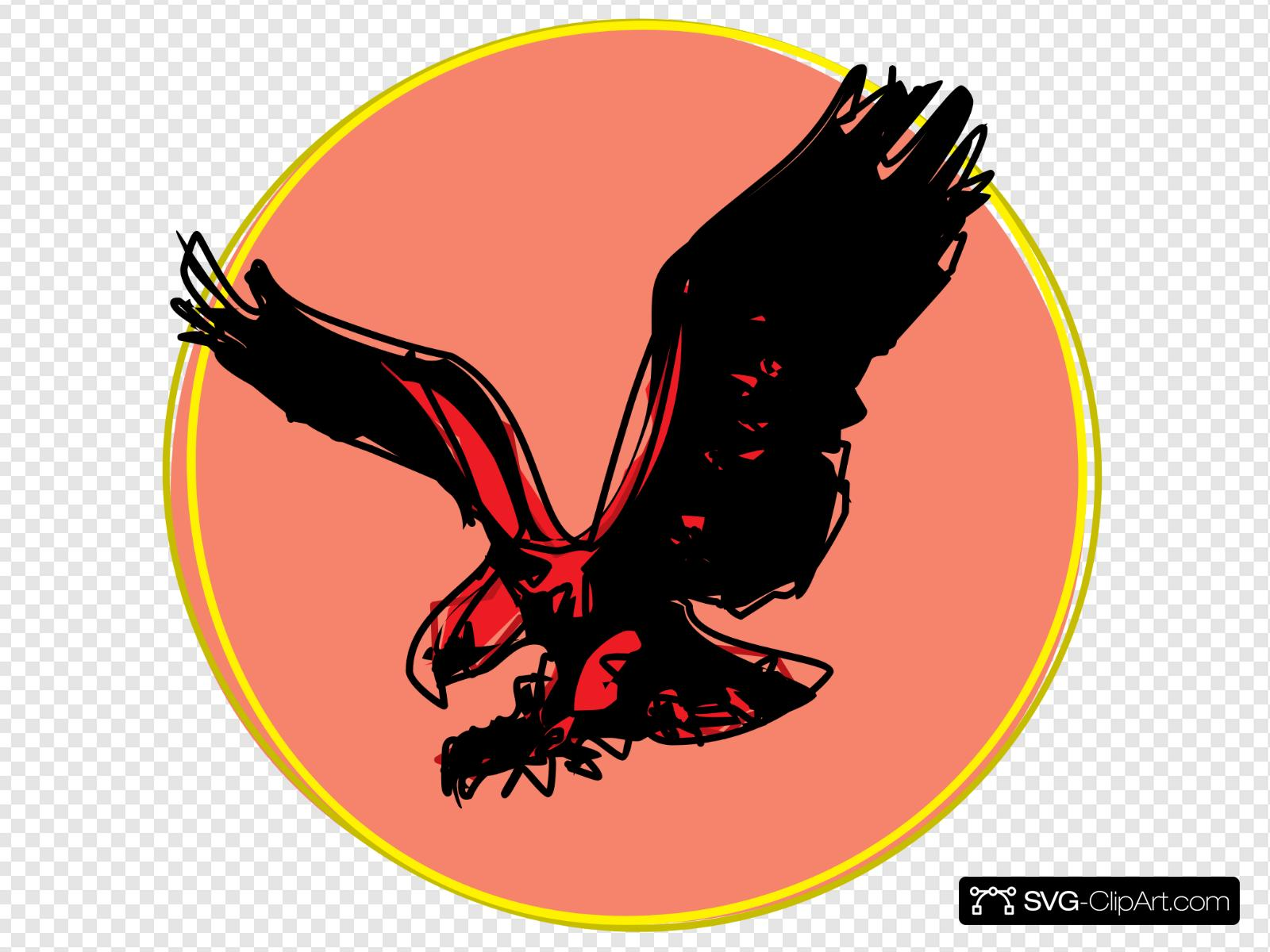 Eagle Scribble With Sun Clip art, Icon and SVG.